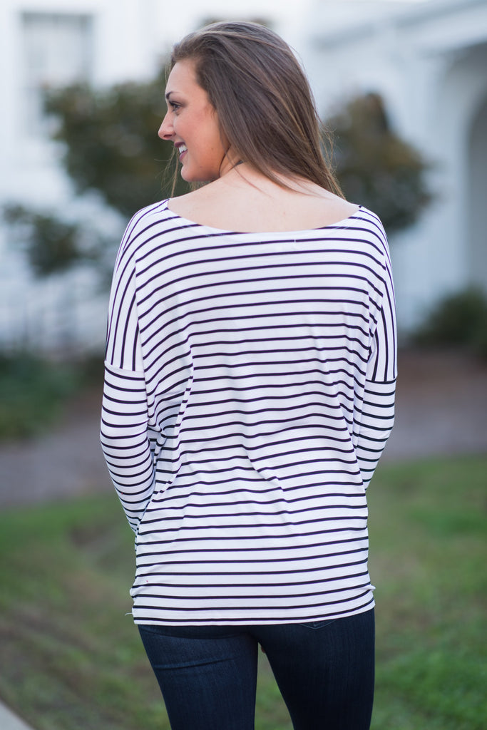 Jump In Line Piko Top White Black The Mint Julep Boutique