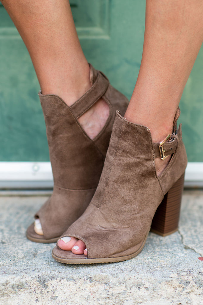 shoes, booties, fall, winter, open toed, buckle, taupe, brown, solid