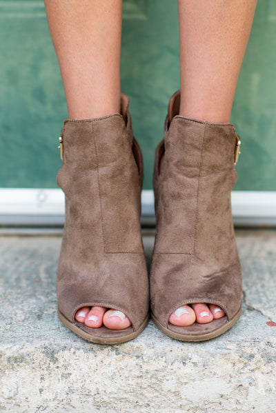 Height Of Happiness Booties, Taupe