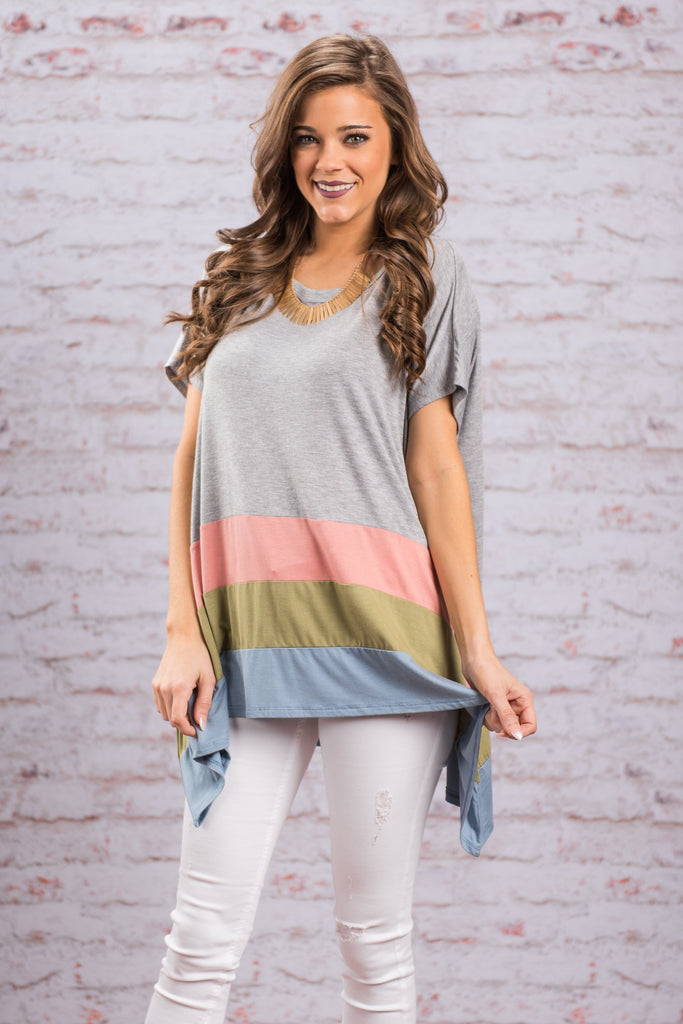 Triple Threat Top, Heather Gray
