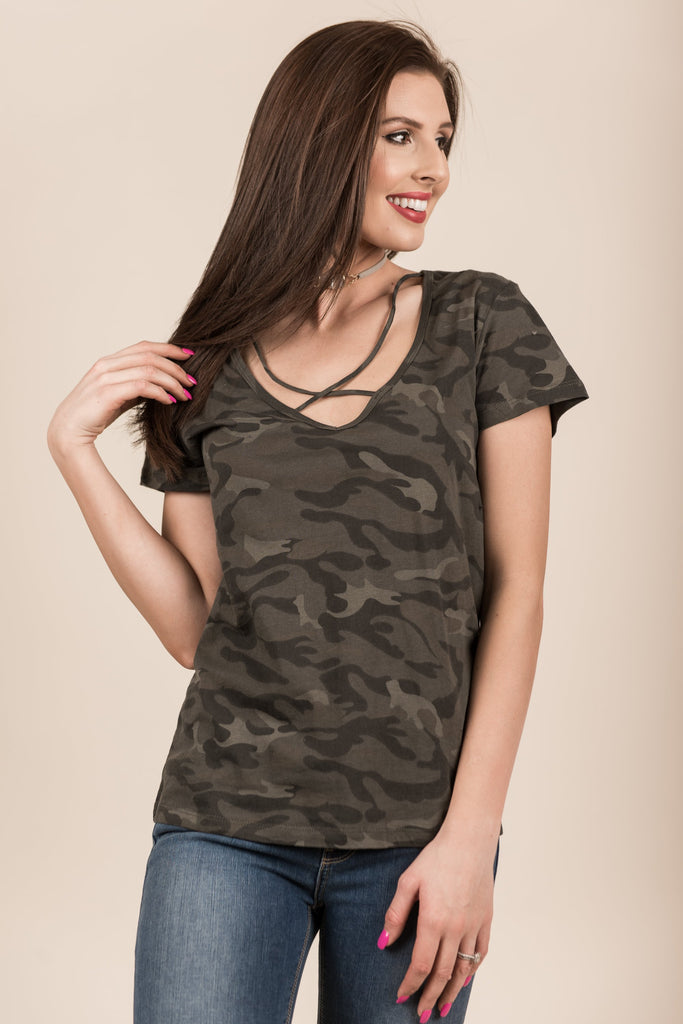 Can't Hide From Love Top, Army Green