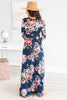 dress, maxi dress, floral, floral maxi dress, navy maxi dress with floral details, navy, long sleeve, long sleeve maxi dress, fall, fall maxi dress, summer, summer dress