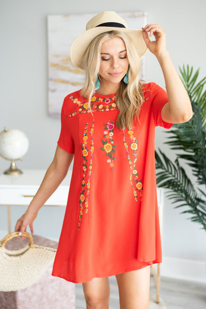 On The Border Dress, Red