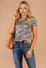 top, round neckline, short sleeves, camo print, tee, t-shirt, soft, cozy, green
