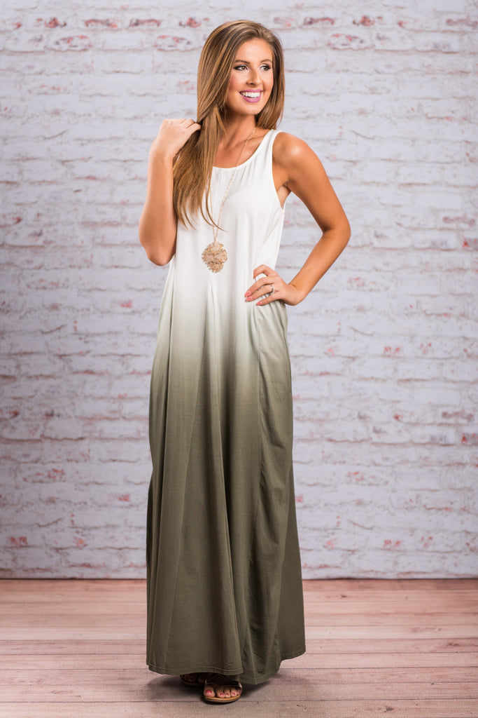 Fade To Reality Maxi Dress, Olive