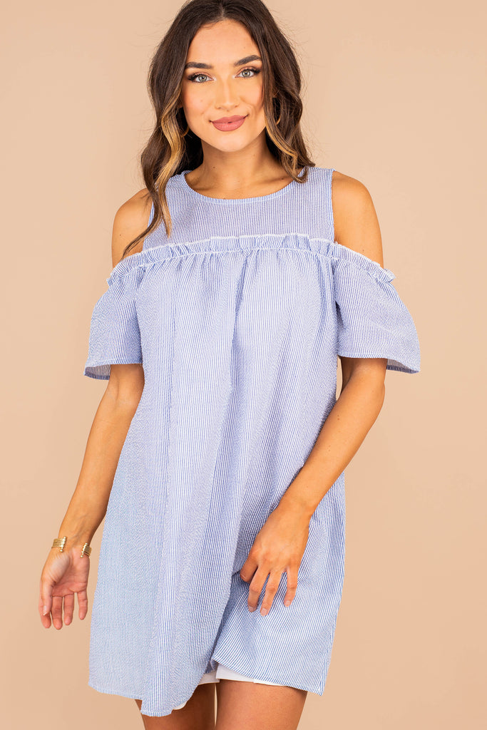 summer dress, dress, round neckline, open shoulder cutouts, full lining, short flutter sleeves, knee length hem, seersucker fabric, cold shoulder, blue