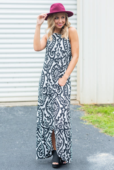 Never Too Busy High Low Maxi Dress, Ivory-Black
