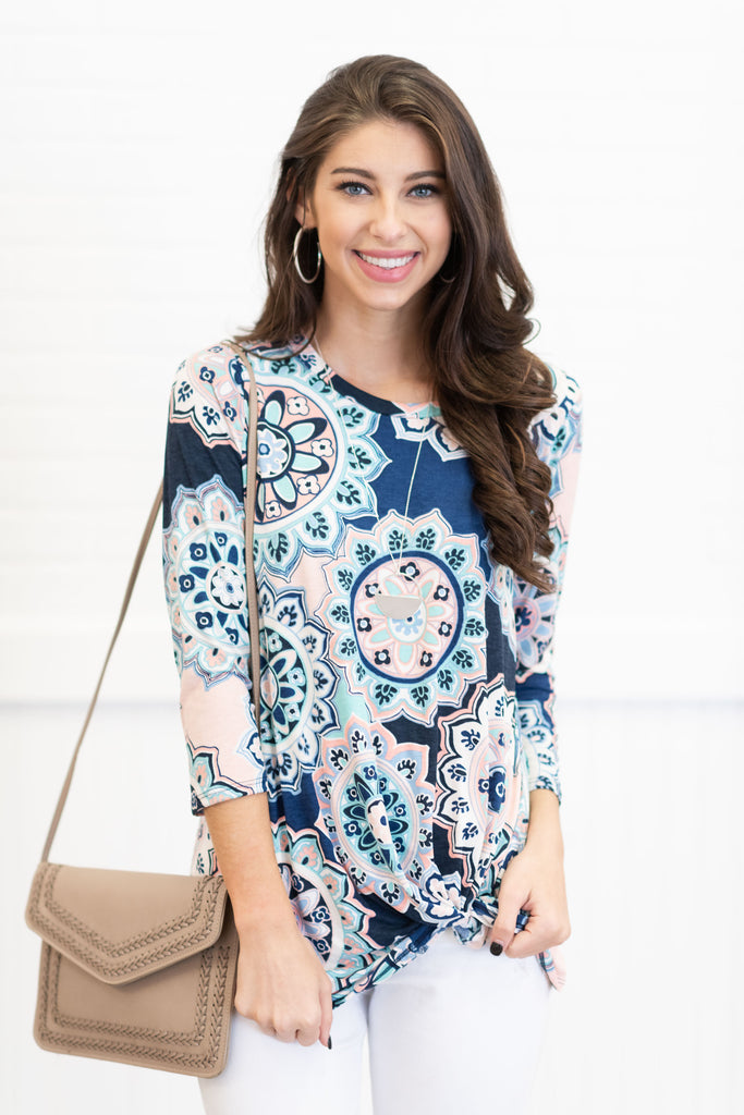 Forever Fun Knot Top, Navy