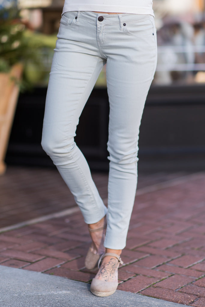 What A Thrill Skinny Jeans, Seafoam