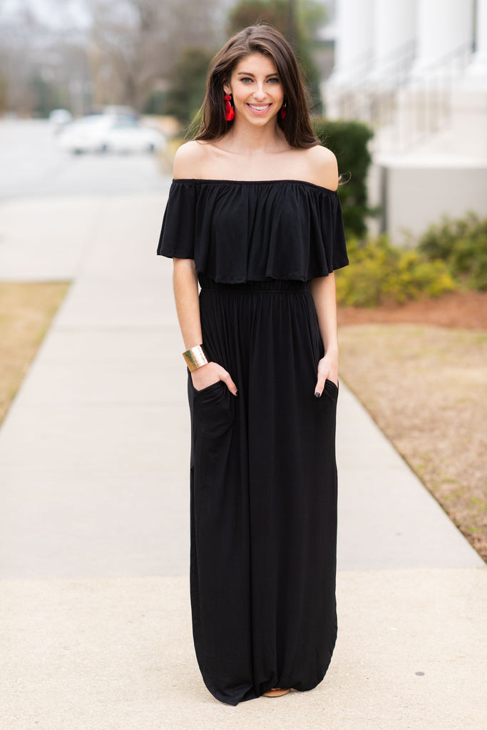 Beauty In Barbados Black Maxi Dress