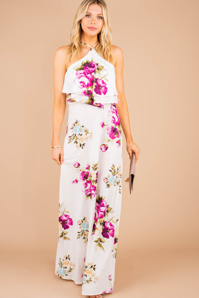 easy fit, halter neckline, floral print, maxi dress, dress, tiered flutter accent, off white