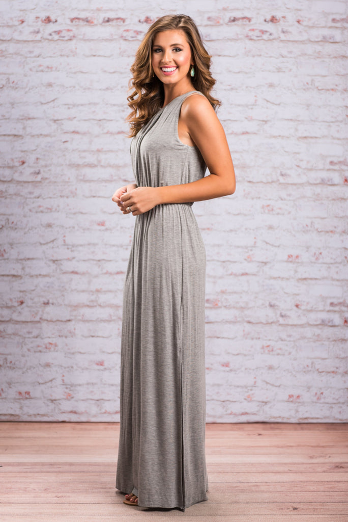 Lap Of Luxury Maxi Dress, Gray
