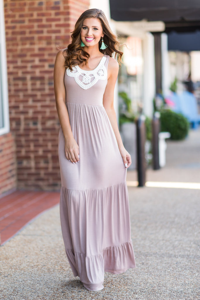 Darling Dreamer Maxi Dress, Taupe