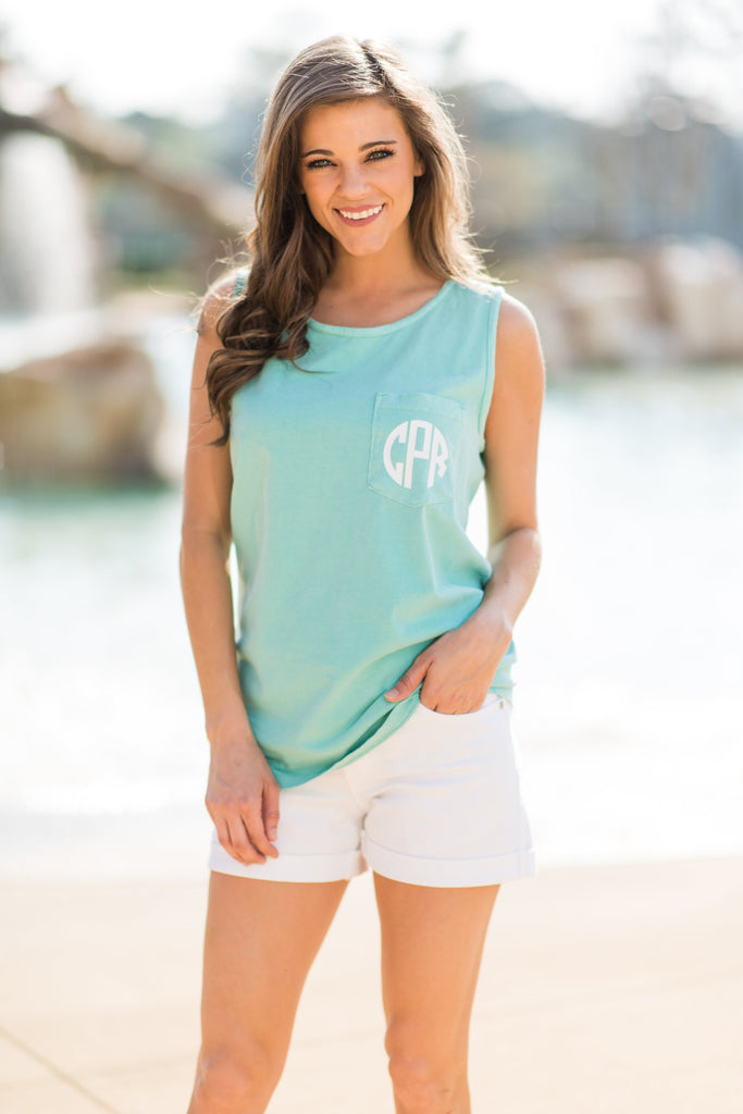 Comfort Colors: Sunny Day Adventures Pocket Tank, Mint
