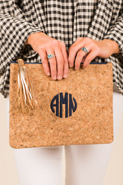 Mud Pie: Carlton Cork Clutch, Navy