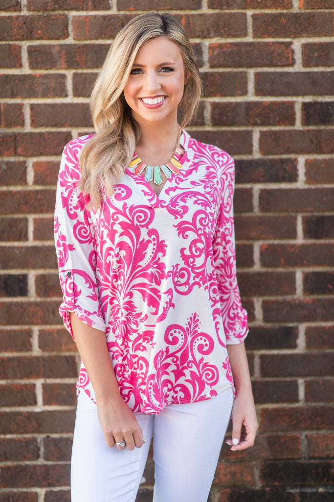 Busy Body Top, Fuchsia