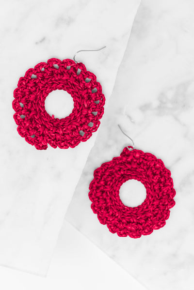 Santa Ana Earrings, Red