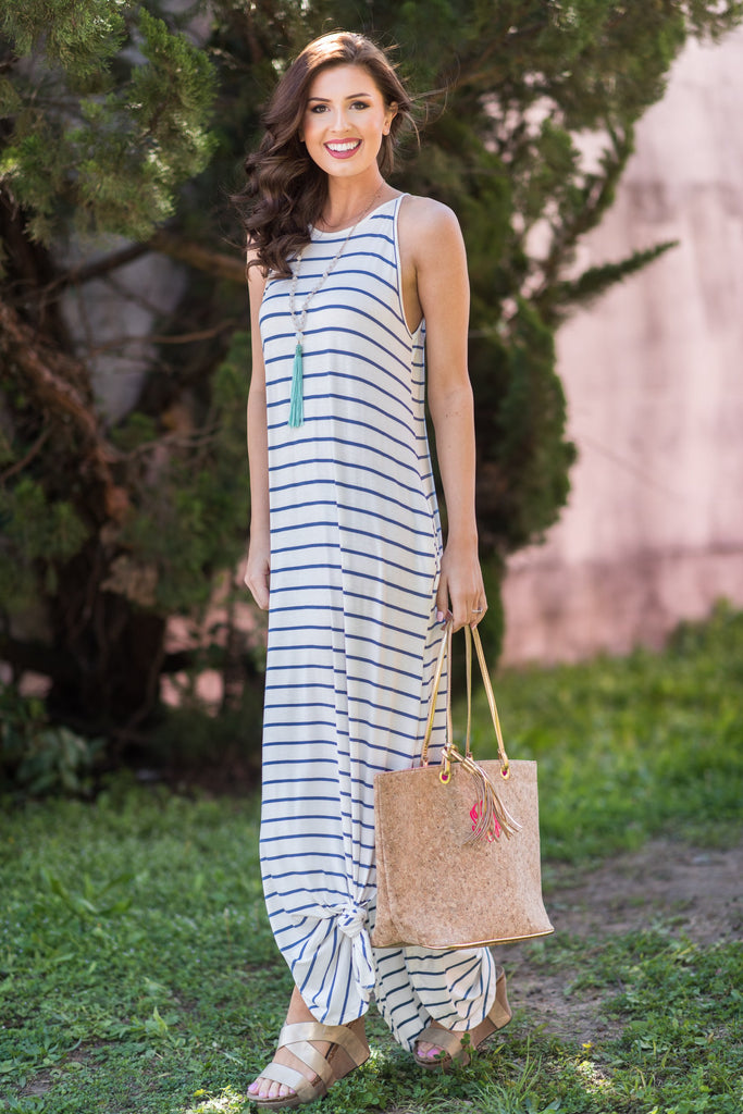 Loved You All Along Maxi Dress, Blue-White