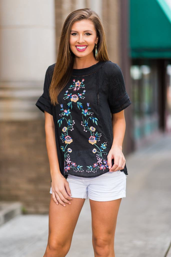 Rad in Roses Top, Black