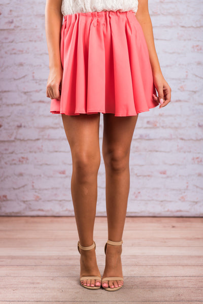 Clear As Day Skirt, Neon Coral