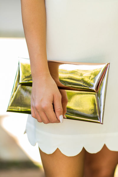 Chic And Shine Clutch, Rose Gold
