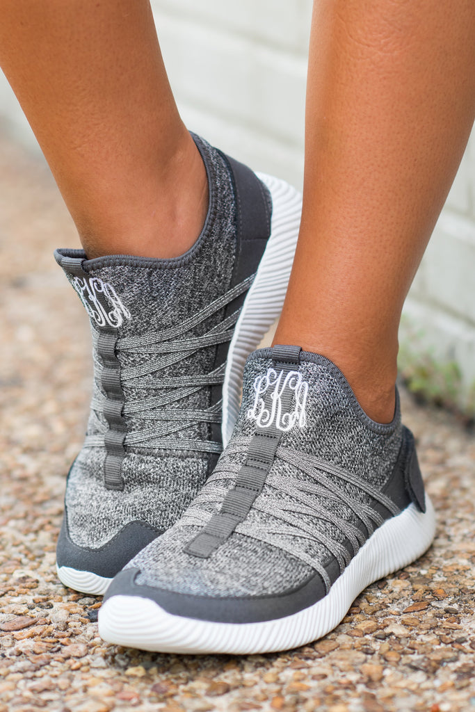 shoes, sneakers, gray, sparkle, monogram, monogrammed shoes, monogrammed sneakers, slip on sneakers, tennis shoes, comfy shoes