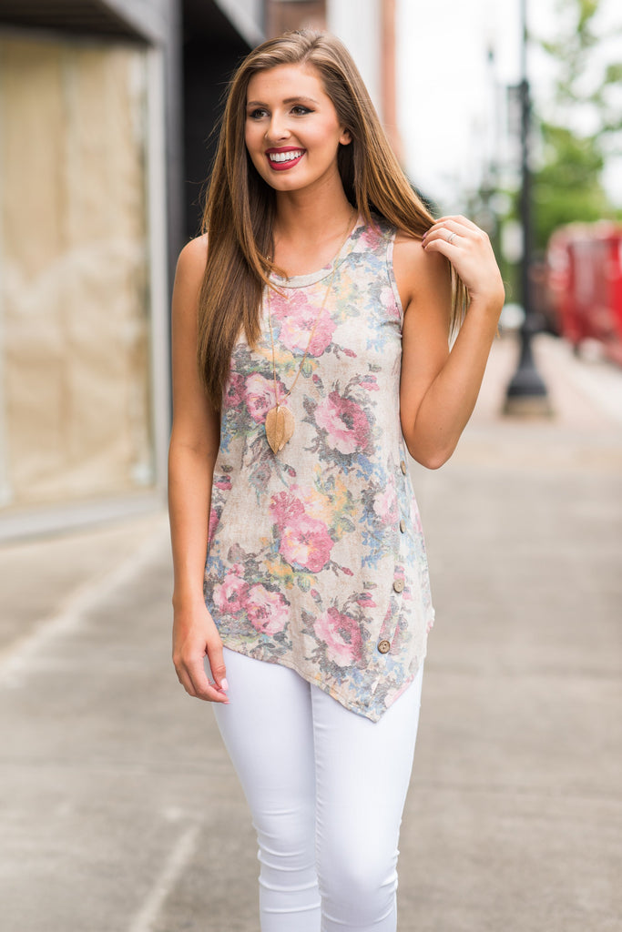 Floral Intuitions Tank, Taupe