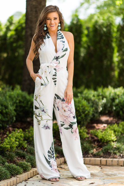 Tropic Like It's Hot Jumpsuit, White