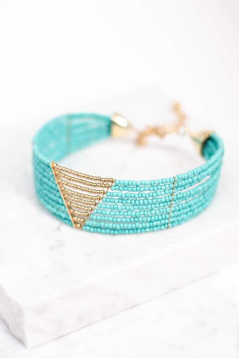 choker, gold triangle accent, gold, statement necklace, turquoise, gold beads, green
