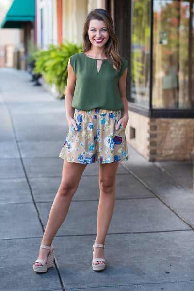 Floral Paradise Shorts, Taupe