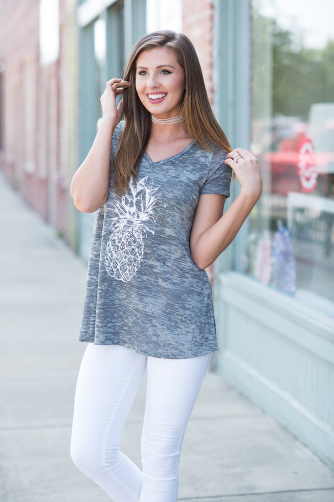 Sweet On The Inside Tee, Cool Gray
