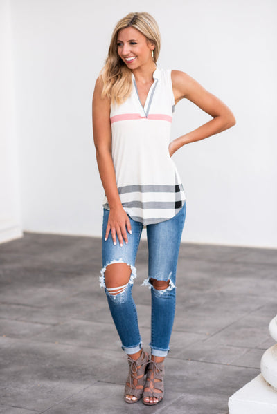 Perf in Plaid Tank, Almond