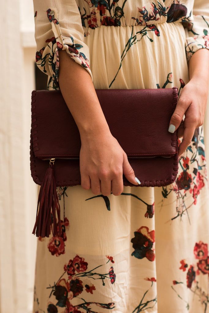 Fell In Love Clutch, Burgundy
