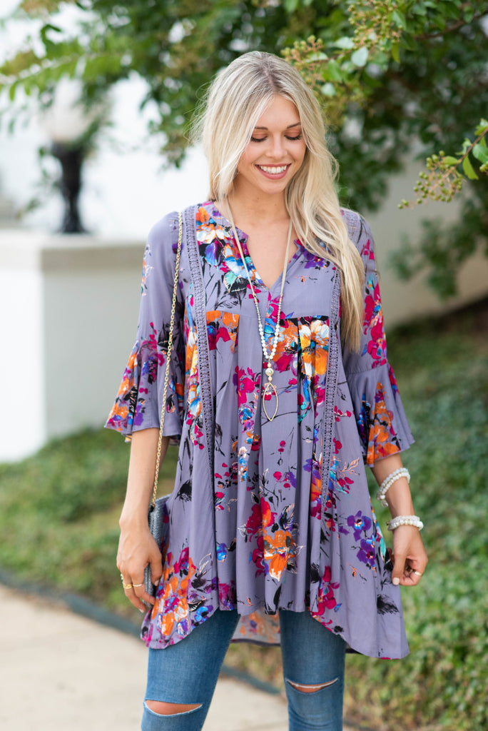 Influenced By Florals Dress, Lilac Gray