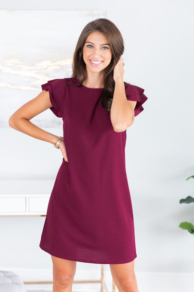Beauty Bound Wine Red Ruffled Sleeve Dress