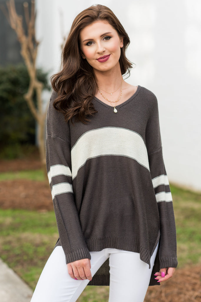 Funday Fab Sweater, Charcoal-Cream