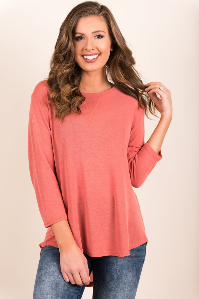 Casual Charisma Top, Coral