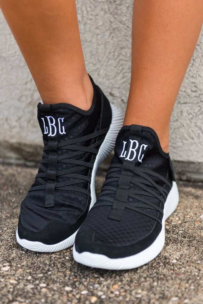 shoes, sneakers, black, monogram, monogrammed shoes, monogrammed sneakers, slip on sneakers, tennis shoes, comfy shoes