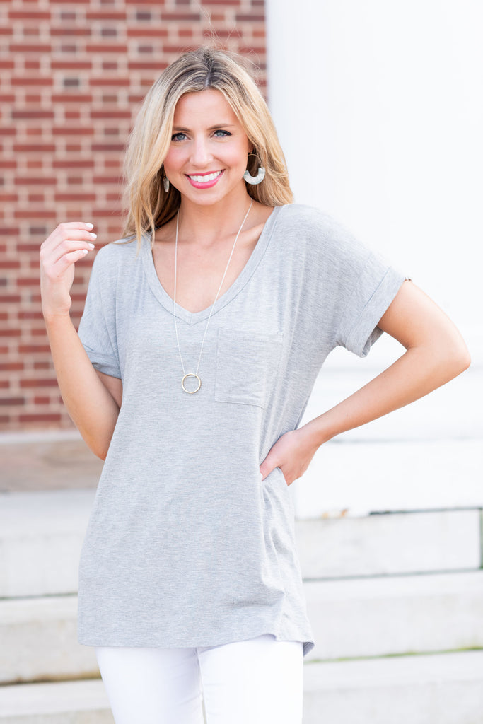 On The Go Cool Gray Pocket Tee