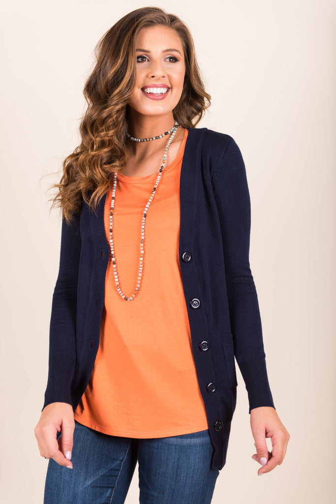 Ivy League Listed Cardigan, Navy