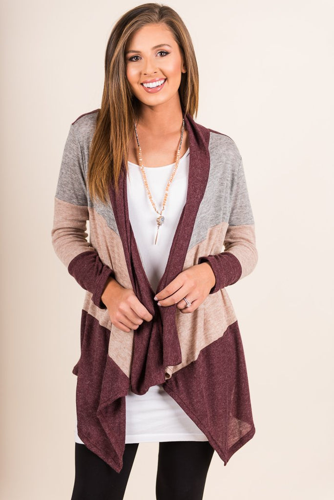 Here You Are Cardigan, Burgundy