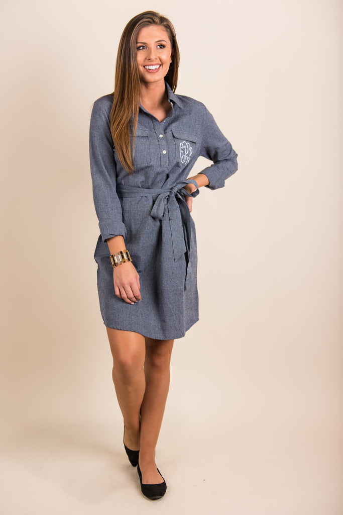 Coordinated Class Dress, Chambray
