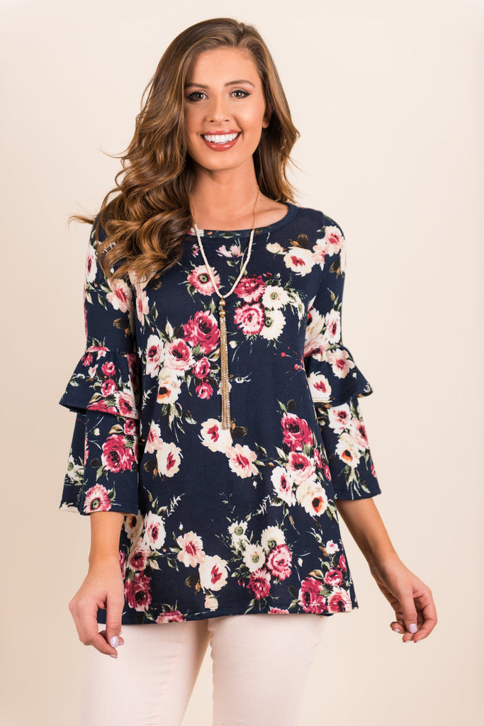 Fab In Flowers Top, Navy