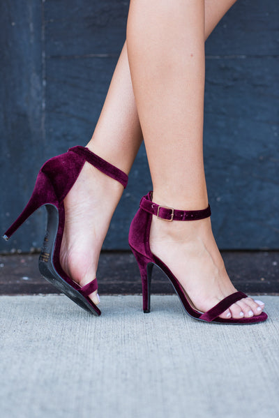 The Zoey Heels, Velvet Burgundy
