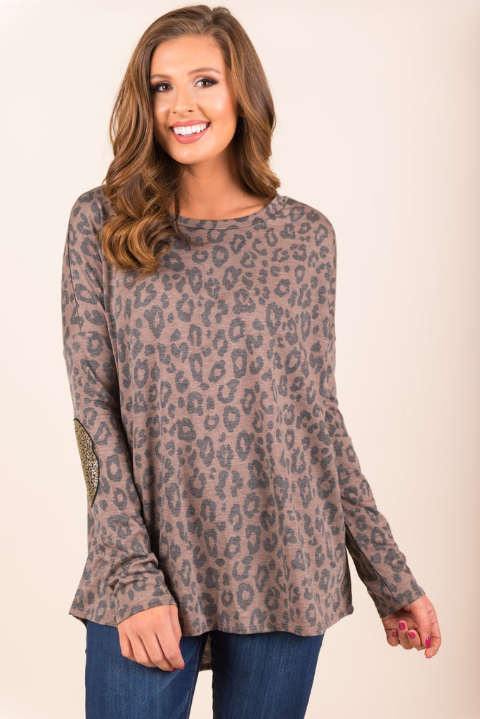 Can't Miss This Shine Top, Leopard