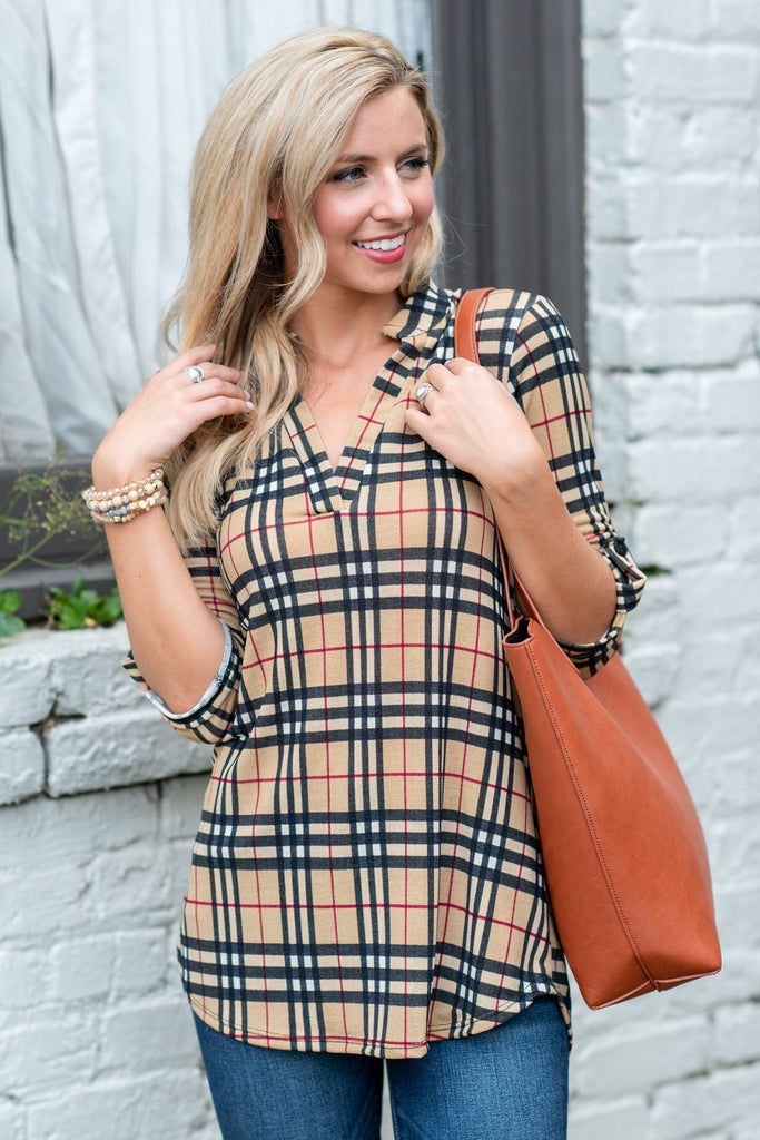 Plaid Is Rad Top, Taupe