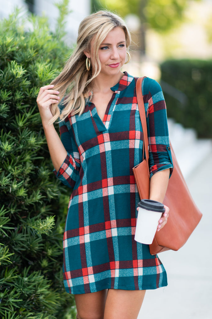 Plaid Party Dress, Teal