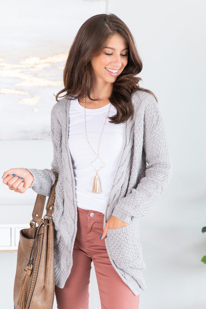 top, cardigan, cable knit cardigan, gray cable knit cardigan, gray cable knit cardigan with pockets, silver cardigan, silver cable knit cardigan with pockets, sweater, cable knit sweater, gray cable knit sweater, lightweight cardigan, lightweight sweater, open knit cardigan, ,open knit sweater,