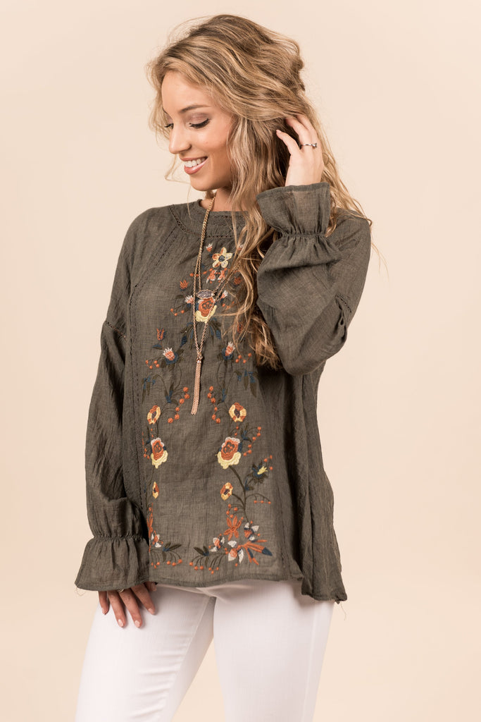Rad In Roses Long Sleeve Top, Olive