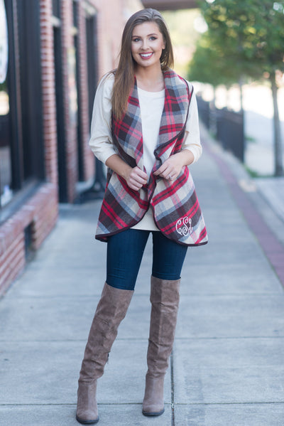Back to Fab In Plaid Vest, Crimson